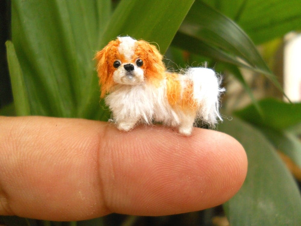 miniature japanese chin tiny crochet tiny dog stuffed. Black Bedroom Furniture Sets. Home Design Ideas
