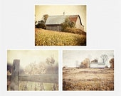 Rustic Country Landscape Print Set, Country Wall Gallery Set, Farm Display Print Set, Gold Beige, Neutral Wall Gallery, Barn Photography.