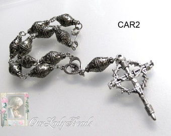 Car Rosary, Nail Crucifix, Mother and Child Medal, Silver, Religious Jewelry, Catholic Jewelry, Our Lady Beads, CR2