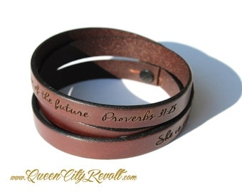 Personalized Brown Leather Wrap Bracelet, Custom Text, Adjustable, Script Text