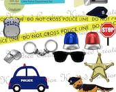 Little Police Department Digital Embellishment Set 300 dpi printable clipart small business use