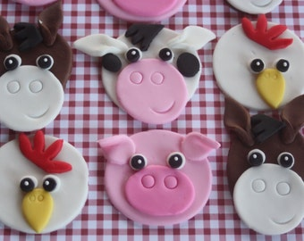 12 Fondant cupcake toppers farm animals