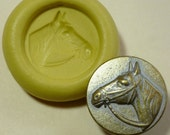Antique button mold-  Horse head, flat, flexible silicone push mold, PMC, Art Clay Silver, fimo, Sculpey, jewelry mold Q10