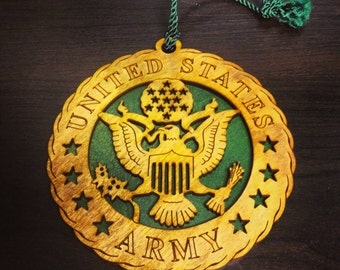 Wood United States Army Ornament