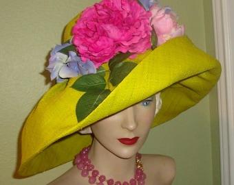 Sale Designer Custom HAT, Raffia, Pinks Greens, Millinery Roses, Floral, Derby, Garden Party, Church, Wedding, Dress Hat