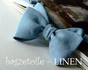 Linen Bowties - Wedding accessories  - Groomsmen - many colours available, freestyle bowties / self tie, for men, adjustable bowtie