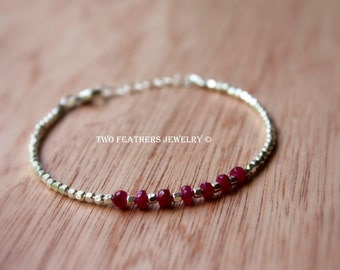 Ruby Bracelet - July Birthstone Bracelet - Sterling Silver Bracelet - Ruby And Silver - Precious Gemstone Bracelet - Two Feathers Jewelry