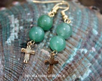 Green Avenuturine Earrings - Natural Green Gemstone Earrings - Gold Cross Earrings - Christian Jewelry - Two Feathers Jewelry - Drops