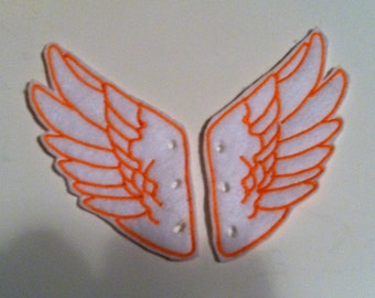 Bold White with Orange thread Percy Jackson Inspired Shoe Wings