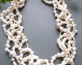 Multi strand necklace, Freshwater Pearl necklace, Real pearl necklace, Wedding necklace, Bridal necklace, natural pearl, woven