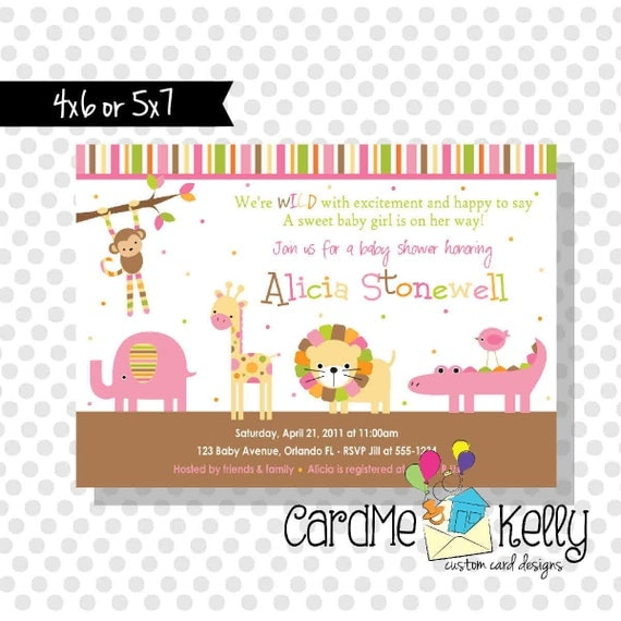 Printable Girl or Boy or Neutral Jungle Zoo Animals Baby Shower Invitation - Digital Dile