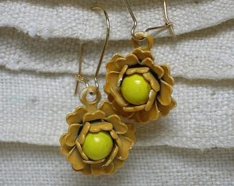 Flower Earrings, Harvest Gold & Yellow Enamel, Mod Hippie Era 1960s, 70s