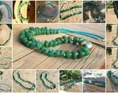 Vintage Sterling Navajo Jade Turquoise Necklace Southwestern