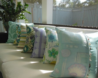 Limited Decorative Pillows - Colorful Bright Bold Pillows - Blue Teal Turquoise Purple Green Pillows - Ikat Paisley Seashell Striped Tropics