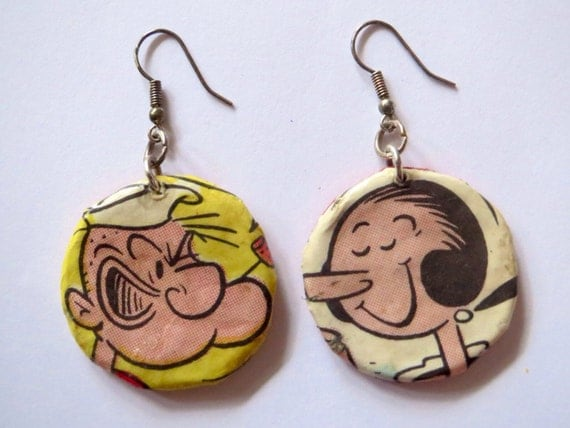 Popeye and Olive Earrings - recycled comic strip, OOAK, hanging earrings, round earrings, gift for her, birthday, Christmas, valentines day