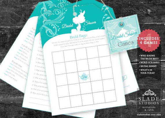 Games For Kitchen Tea Bridal Shower Turquoise Blue Bridal Shower Tea Games Set 4 Tea By
