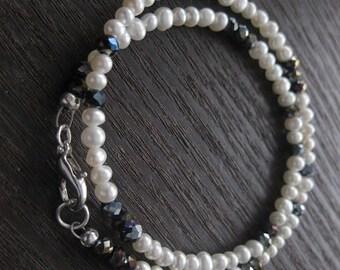 pearl bracelet, pearl jewelry,pearl necklace, freshwater pearl bracelet, pearl wrap bracelet, natural pearls jewelry, swarovski crystals