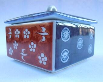 Vintage Blue Ceramic Box Vtg Red Ceramic Box Red White Blue Box Vintage Japanese Ceramic Square Box Ceramic Souvenir Box Ceramic Trinket Box