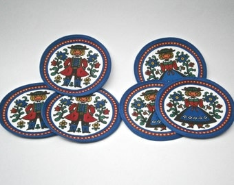 Vintage Swedish Blue Round Patch Folk Costume Scandinavian Applique Sweden Coaster Male Female Red White Fabric Pad Sewn On Boy Girl Cloth