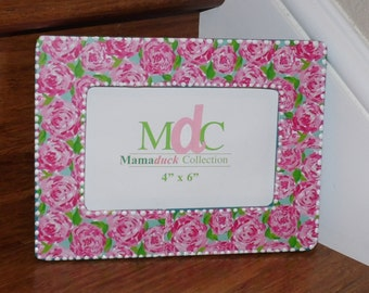 Lilly Pulitzer Inspired Picture Frame FIRST IMPRESSIONS hotty pink by Mama Duck Creations Optional Monogram Holds 4x6