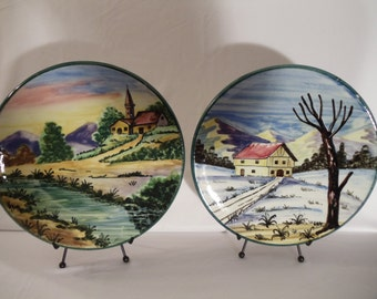 Collectible Hand Painted Spanish Wall Plates Set of 2