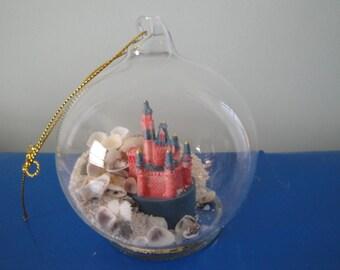 Christmas Seashell Globe With Castle Ornament