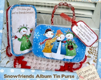 Digital Snowman Ornament Tags album purse, printable project, altoid tin, friendship, snow girls, accordion, gift cards #506