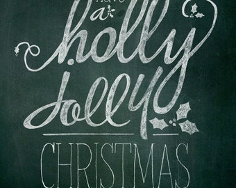 Christmas Printable Chalk Art - 1 8x10 typography design // Instant Download