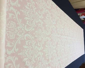 Premier Prints Ozborne Pink and White Damask  Aisle Runner 25 feet