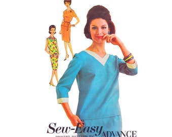 1960s Dress Vintage 60s UNCUT Sewing Pattern Misses Bust 36 Size 16 Sew-Easy Advance 3165 Two Piece Dress Top and Slim Pencil Skirt