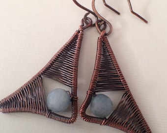 Triangle woven wire wrapped copper earrings with chalcedony beads, drop earrings, oxidized copper