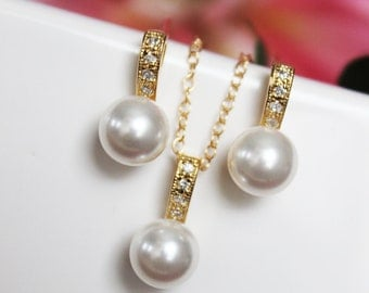 Bridal Jewelry Set. Gold Pearl Pendant. Rhinestone and Pearl Drop. Bridesmaids Jewelry Set. Emily Wedding Jewelry Set