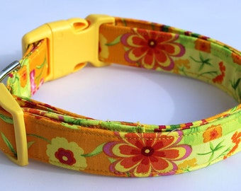 Sunny Blooms Floral Dog Collar Size XS, S, M or L