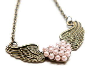SALE Vintage Style Little Wings Flying Heart Necklace in Antiqued Brass