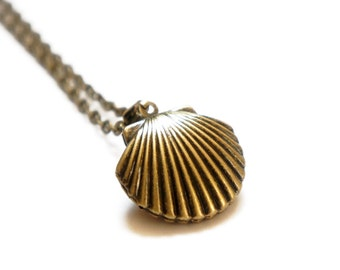 A Little Sea Shell - Vintage Style Antiqued Brass Sea Shell Locket Necklace - LN023