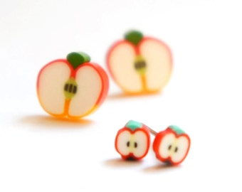 Tiny Miniature Sliced Apple Post Earrings - Red 4mm 10mm