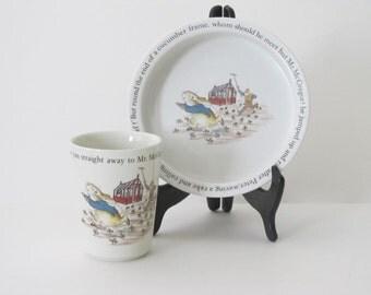 Vintage Wedgwood Beatrix Potter Peter Rabbit Child's Breakfast Set