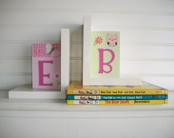 Childrens Bookends . Nursery Decor. Bookends. Girls Bookends