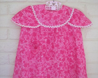 1960s Mod Pink Flower Power Dress, Size 2-3