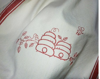 Honey bee and skeps embroidered kitchen towel red or blue