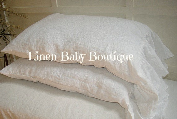 Ruffled Pillow Case Decorative Sham White Linen