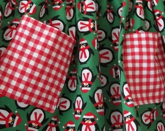 Christmas Penguin and Red Gingham Half Apron