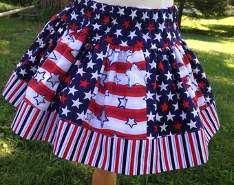 Girls Patroitic American Skirt 4th of July