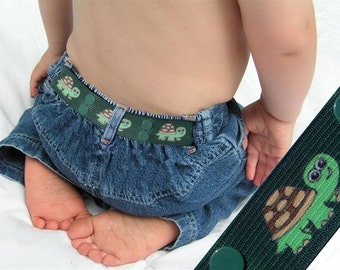 "Toddler Belt - Elastic Snap Belt - ""Turtle"""