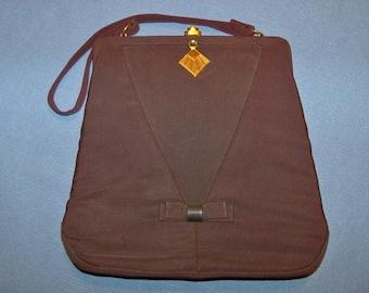 Handbag Brown L M SpotLite Vintage Top Handle Purse Grosgrain Fabric Gift Guide Women Mid-century Mad Men Cosplay