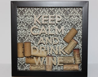 Keep Calm and Drink Wine - Wine Lovers Shadowbox Decoration (Tan Letters, patterned background)