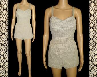 Vintage 1950s Swimsuit  .  50s Jantzen Swimsuit  .  Viva Las Vegas Pinup Bombshell Garden Party Novelty Print Rockabilly