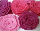 "Set of 6pcs - handmade 2.5"" Felt Rose Flower - Candy Pink, Shocking Pink, Fuchsia (RO)"
