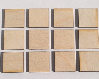 """25 Ct 2.5"""" Wood Squares - Unfinished - for Charms, Crafts, Pendants, DIY Projects SH-308-2.5"""
