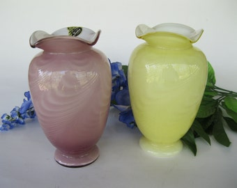 Fenton Vase Cased Pulled Feather Yellow OR Mauve